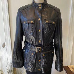 Boden Black Leather Belted Moto Biker Jacket